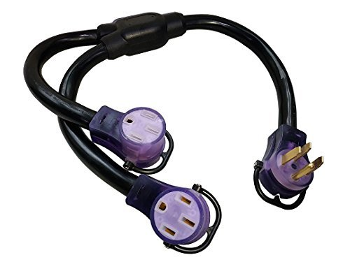 Parkworld 692095 RV 50 AMP Splitter, NEMA 14-50P Male Plug to (2) 14-50R Female connectors (with Lighted) 1 Plug to 2 Socket Y Adatper