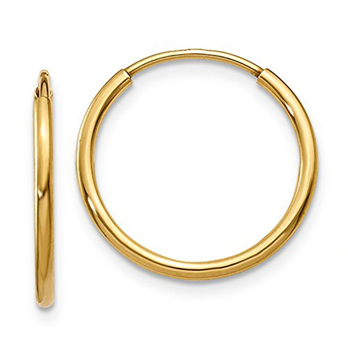 14k Solid Yellow Gold Hoop - 14k Yellow Gold Continuous Endless Hoop Earrings, 1.25mm Tube (16mm)