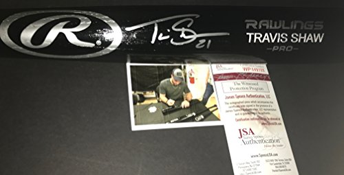 Autographed Brewers - Travis Shaw Milwaukee Brewers Autographed Signed Black Baseball Bat JSA WITNESS COA