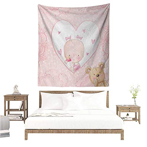 Agoza Gender Reveal Tapestry Girls Baby with Teddy Bear Flowers Hearts and Polka Dots Print Tapestry for Home Decor 70W x 84L INCH Pale Pink and Sand Brown]()