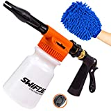 SwiftJet Car Wash Foam Gun Sprayer with Thick Suds - Adjustable Water Pressure & Soap Ratio Dial - Foam Cannon Attaches to Any Garden Hose (Foam Sprayer with Wash Mit) (Tamaño: Foam Sprayer With Wash Mit)