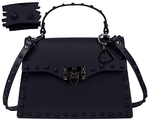 DASTI Carteras de mujer en oferta de marcas Black Designer Inspired Handbags for Women Shoulder Motorcycle Bags Stud Rivets Studded Purses 2019 ()
