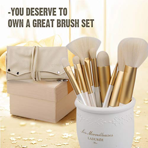 ZOREYA Makeup Brushes 10pc Gold- Premium Quality Non Animal Cruelty Cosmetic Makeup Brush Set with Vegan Leather Make up Organizer Storage Brush Holder Case Kit Contains Contour Powder Foundation