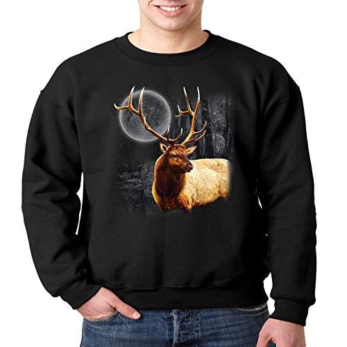 Wild Life Crewneck Sweatshirt Moon Light Elk Wilderness (Black, ()