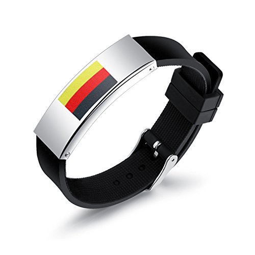 Marwar 2018 Russia World Cup Flag Color Bracelet Spain Germany Football Fans Symbolize Wearing Hand-woven Retro Leather Bracelet (Germany)
