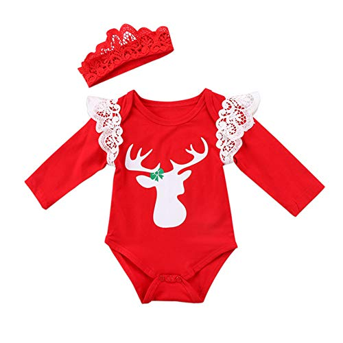 Kmbangi Newborn Infant Baby Girls Christmas Outfit Reindeer Print Romper Bodysuit Lace Headband (0-6 Months, Red)