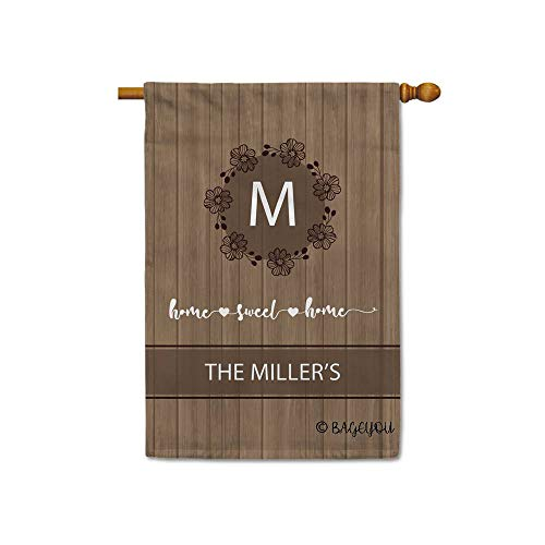 BAGEYOU Home Sweet Home Flowers Spring Summer Decorative House Flag for Outside Customized Your Last Name and Monogram 28x40 Inch Printed Double ()