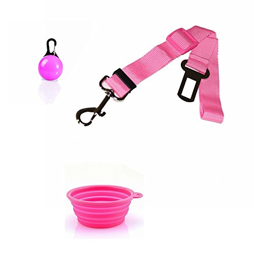 FuzzyGreen Excellent Pets Travel Sets, Pink Pet Car Safety Belt and Dogs Cats Travel Bowl Include LED Clip on Pets Safety Light Ball