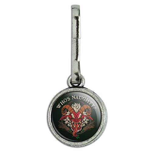 (GRAPHICS & MORE Krampus Who's Naughty Christmas Holiday Antiqued Charm Clothes Purse Suitcase Backpack Zipper Pull)