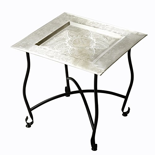 Accent Furniture - Tangiers Square Metal Accent Table - Tray Table - Tea Table