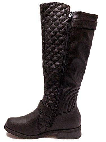 Forever Mango-21 Womens Winkle Back Shaft Side Zip Knee High Flat Riding Boots Black-11 MBMdQs