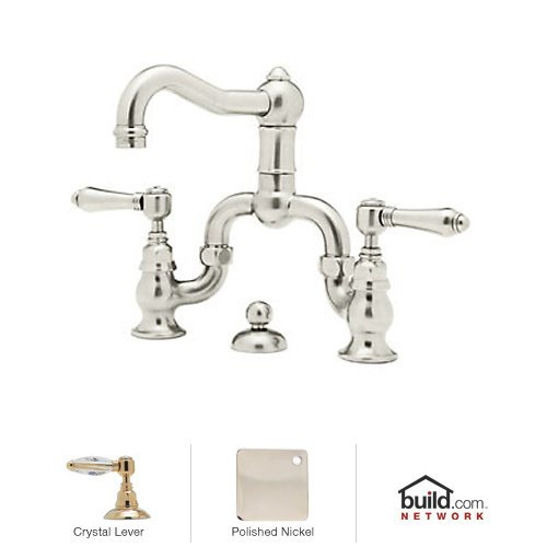Rohl Faucet Lavatory Bridge (Rohl A1419LCPN-2 Country Bath Bridge Bathroom Faucet with Pop-Up Drain And Swarovs, Polished Nickel)