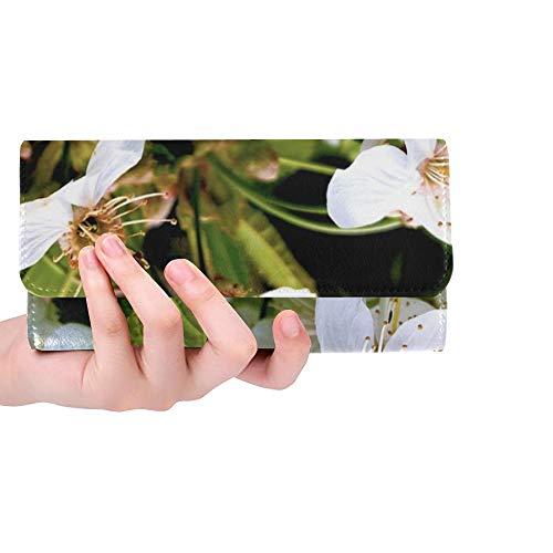(Unique Custom Cherry Cherry Tree Cherry Blossom Spring Buds Women Trifold Wallet Long Purse Credit Card Holder Case Handbag)