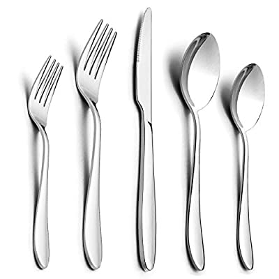 40/10-Piece Silverware Set, HaWare Stainless Steel Flatware Cutlery Set with Knives/Spoons/Forks, Service for 8/2, Dishwasher Safe