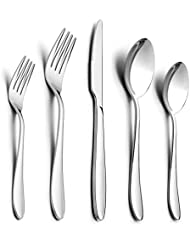 30-Piece Silverware Set, HaWare Stainless Steel Modern Elegant Flatware Cutlery Set, Service