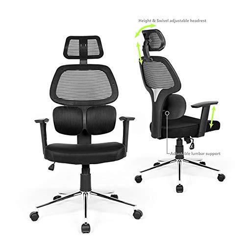 Ergonomic Office Chair Mesh Computer Desk Chair with Lumbar Support Adjustable Backrest Headrest...