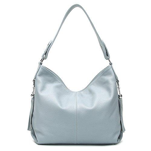 2018 New Fashion Soft Real Genuine Leather Tassel Women's Handbag Ladies Shoulder Tote Messenger Bag Purse Satchel Black White (Linen Blue) ()