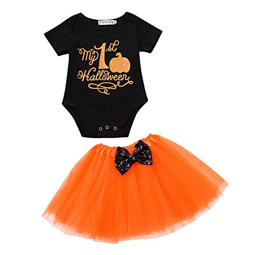 Halloween Pumpkin Costume Jumpsuit Toddler Romper Baby Girls Short Sleeve Skirt (Black,90) ()