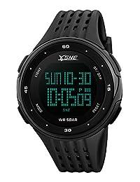 Digital Sports Watch Water Resistant Outdoor Electronic Waterproof LED Military Back Light Black Men's Wristwatch1219