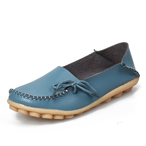 SUNROLAN Womens Leather Cowhide Casual Lace-up Slipper Slip-on Loafers Flat Driving Shoes Light Blue