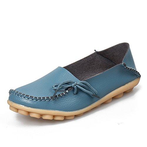 Sunrolan Damesleren Rundleer Casual Veterschoenen Slip-on Instappers Plat Rijdende Schoenen Lichtblauw