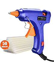 TOPELEK Hot Glue Gun with Sticks(50pcs 100mm), Heat Up Quickly 20W Mini Heating Hot Melt Glue Gun, ON-Off Switch Easy for DIY Arts, Hobby, Craft, Home Repairs, Fabric,Wood, Glass, Card, Plastic