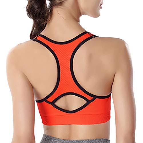 (Women Racerback Sports Bras - High Impact Workout Gym Activewear Bra Orange)