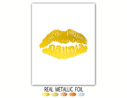 Gold Lips Bathroom Art Print, Boudoir Gold Foil, Bedroom Decor Makeup And Lipstick Poster