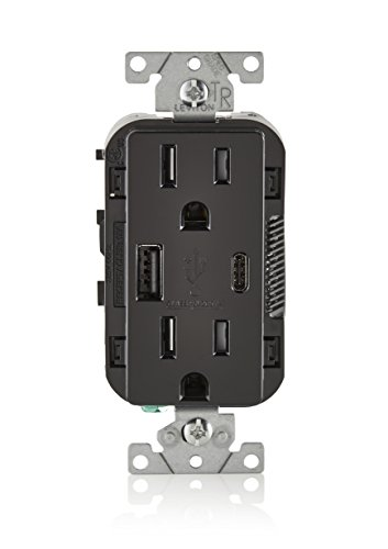 Leviton T5633-E 15A 125V Decora Tamper Resistant Type A and Type C USB Charger Duplex Receptacle Outlet, Black