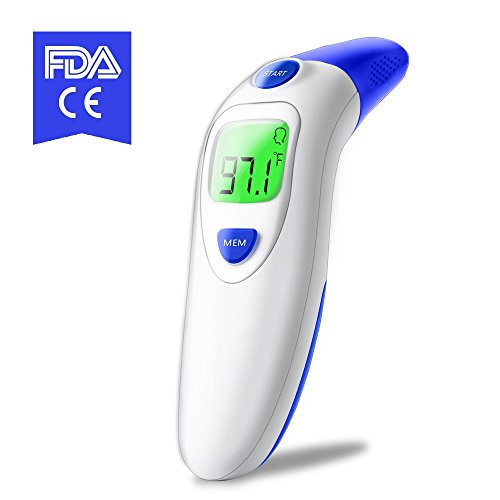 Forehead and Ear Thermometer,Infrared Digital Thermometer Suitable for Baby, Infant, Toddler and Adults with FDA and CE Approved