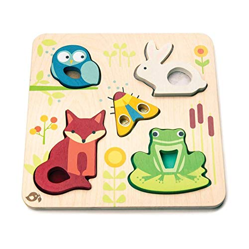 (Tender Leaf Toys - Touchy Feely Animals - 5 Piece Wooden Shape Recognition and Dexterity Puzzle - Encourages Language Development - Kids 18 Months +)