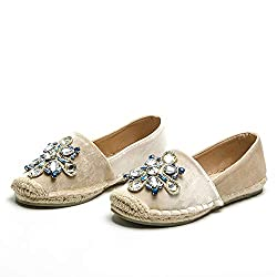 Flat Slip-On Round Toe With Rhinestone Crystal
