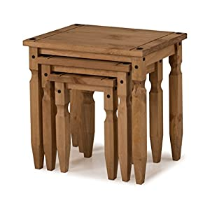 Mercers Furniture Corona Piccolo Nest of 3 Tables – Antique Wax Pine (brown)