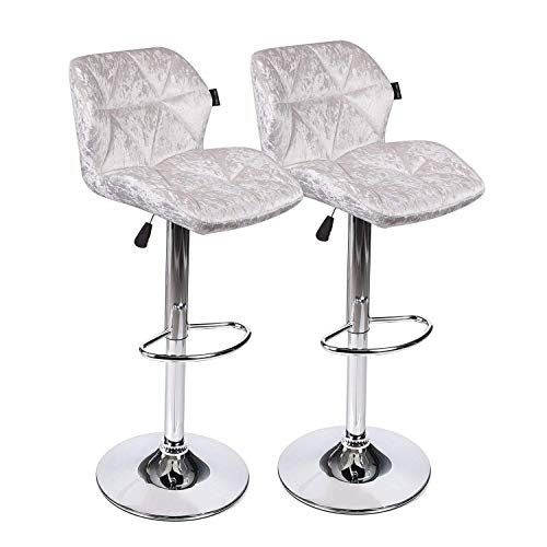 Counter Bar Stools Modern Design Swivel Chair with Velvet Surface Hydraulic Gas Lift for Bars and High Counters, Dining, Kitchen (Set of 2 White Barstool) Review