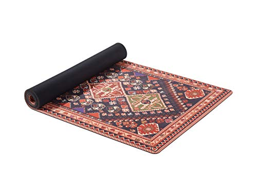 Ananda 3-in-1 Yoga Mat, Towel&Rug | Luxury Boho Carpet Design Natural Rubber/Microfiber Fitness Mat with Carrying Strap, Non-Slip Sweat Absorbing Best for Hot Yoga, Pilates, and Bikram
