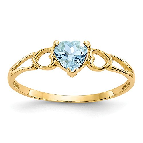 14k Yellow Gold Blue Aquamarine Birthstone Band Ring Size 7.00 March Fine Jewelry Gifts For Women For Her