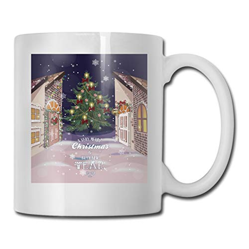 Funny Ceramic Novelty Coffee Mug 11oz,Winter Setting Streets Filled With Snow Traditional Pine Tree Ribbons Carol Quote,Unisex Who Tea Mugs Coffee Cups,Suitable for Office and Home