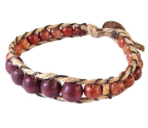 Thai Asian Fashion Handmade Adjustable Bracelet Hemp String Brass Wood Beads Brown Gold Wristband