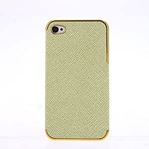 ZCL sold out Black PU Leather Cross pattern Gold Chrome Frame Case for iPhone 4/4S , Purple