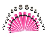 Taper Kit 14G-00G Acrylic Neon Pink Tapers and Plugs Surgical Steel Single Flared Tunnels Stretching Kit - 32 Pieces