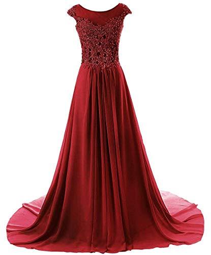 Abendkleider Brautjungfernkleider Festkleider Damen Burgund Chiffon Lang Linie Ballkleid A BBqwrvg