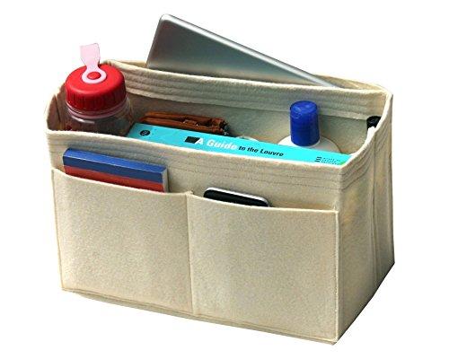 - [Fits Neverfull MM/Speedy 30, Beige] Felt Organizer, Bag in Bag, Wool Purse Insert, Customized Tote Organize, Cosmetic Makeup Diaper Handbag