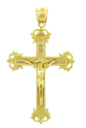 10 ct 471/1000 Or Jaune Crucifix - La Passion Crucifix Pendentif