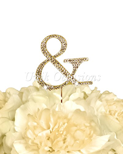 Unik Occasions Collection Rhinestone Cake Topper - Small - Gold (Ampersand)