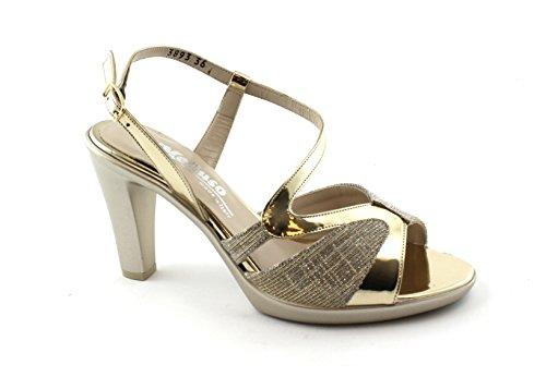 Melluso R50115 Platin Schuhe Frau Skandal Band Ferse Oro