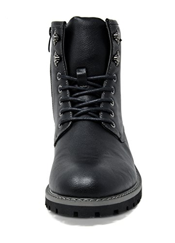 Bruno Marc Men's Stone-01 Black Motorcycle Combat Dress Oxford Boots Size 8 M US