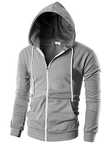 Ohoo Mens Slim Fit Long Sleeve Lightweight Zip-up Hoodie With Kanga Pocket/DCF002-GREY-L