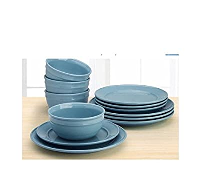 Amelia 12-Piece Solid Color Dinnerware Set (Topaz)  sc 1 st  Amazon.com & Amazon.com | Amelia 12-Piece Solid Color Dinnerware Set (Topaz ...