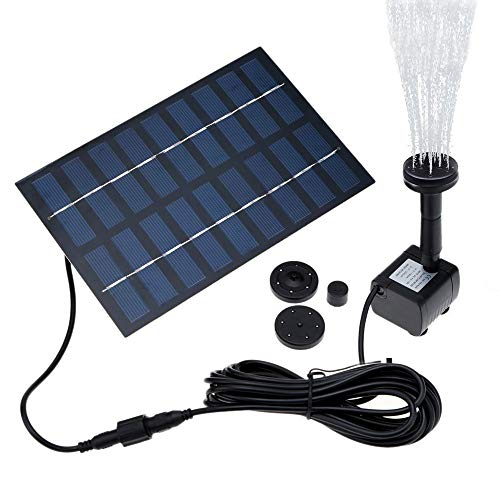 COSVII Solar Fountain, Solar Outdoor Water Fountain Panel Kit for birdbath, Pond, Pool, Garden Fish Tank and Lawn (1.8w Solar Water - Power Solar Pond Pump Water