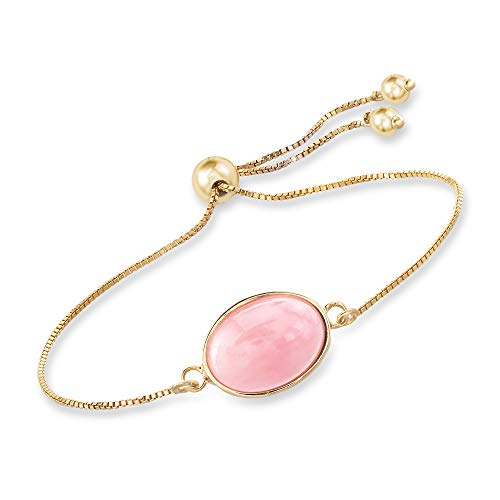 - Ross-Simons Pink Opal Bolo Bracelet in 18kt Gold Over Sterling